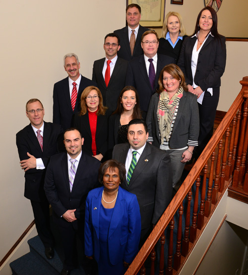 Top row, from l.: Bobby Ristovski, Carol Hughes and Dorota Chojnacki; next row, from l.: Michael Amoroso, Randy Wine, Middle Row: Jim Curroto, Amelia Pena, Farah Chaffin and Gina DeFalco; bottom row, from l.: Jan R. Kwapniewski Billy Pena, Bea Goldberg and Luis Pinto.