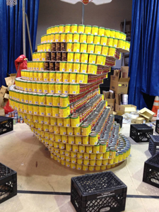 Top photos courtesy Melody LaRossa; Pac-Man Canstruction project, undertaken by Kearny High's Engineering Club, was displayed at Salvation Army of Greater Kearny.