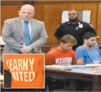 Screenshots courtesy NBC Seated at defense table are Bryan Caputo (in soccer club T-shirt) and Daniel Petryszyn at arraignment last week.
