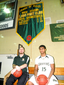 Photos by Jim Hague Among the 12 members of the 1,000-point club at Queen of Peace. are Tom McGuire (l.), the current head coach at QP who graduated in 2003, and the newest member, junior Jeremy Joseph (r.), who reached the plateau last week in a win over Ridgefield Park.