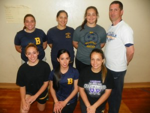 The Belleville softball team is vastly improved over last year, going from seven wins all of last year to a 9-3 mark already this season. Kneeling, from l., are Jackie Sales, Samantha Samaniego and Sarah Guy. Standing, from l., are Barbara Jacangelo, Karina Ramos, Valentina Garrido and head coach Chris Cantarella.