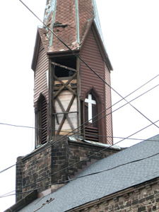 A look at the damaged church.