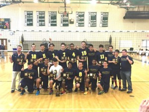 Photo courtesy John Spina The Belleville boys' volleyball team proudly display the trophies they earned by capturing the Essex County Tournament championship last Saturday, defeating rival Livingston in straight sets, for the first ECT title in the school's history and the first Essex title of any kind since the bowling team won in 2006.
