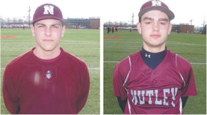 Photos by Jim Hague LEFT: Senior outfielder Anthony Condito has been on a tear offensively this season for the Nutley Maroon Raiders, hitting .596 with four homers and 17 RBI. RIGHT: Senior third baseman Isaak Lindenbaum hit a huge three-run homer in the Maroon Raiders' 11-1 win over Caldwell in the opening round of the Greater Newark Tournament last Saturday.