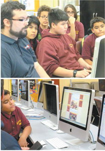 Photos by Ron Leir IT contractor Richard Heywood guides students with posting images and text on school website.