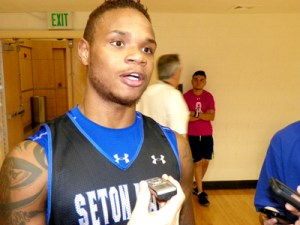 Photo by Jim Hague Derrick Gordon answered a lot of questions at Seton Hall Basketball Media Day, held at the Walsh Gymnasium on the campus of Seton Hall recently
