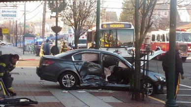 Here's an example of a photo a citizen journalist sent us. A car and bus recently crashed in front of the old Lincoln Theater on Kearny Ave. in Kearny. Our dear friend Manny Ventoso Jr. sent us this photo — and two others — from the scene of the crash.