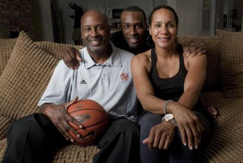 Shabazz Muhammad with his parents, Ron Holmes and Faye Muhammad.