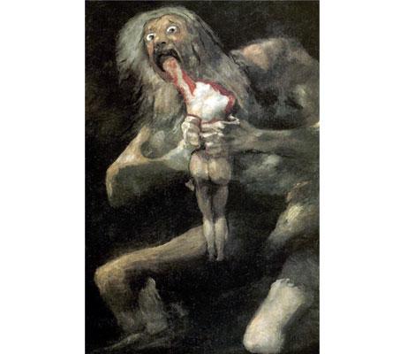 """""""Saturno (Cronos) devora a su hijo"""", de Francisco de Goya, 1821"""