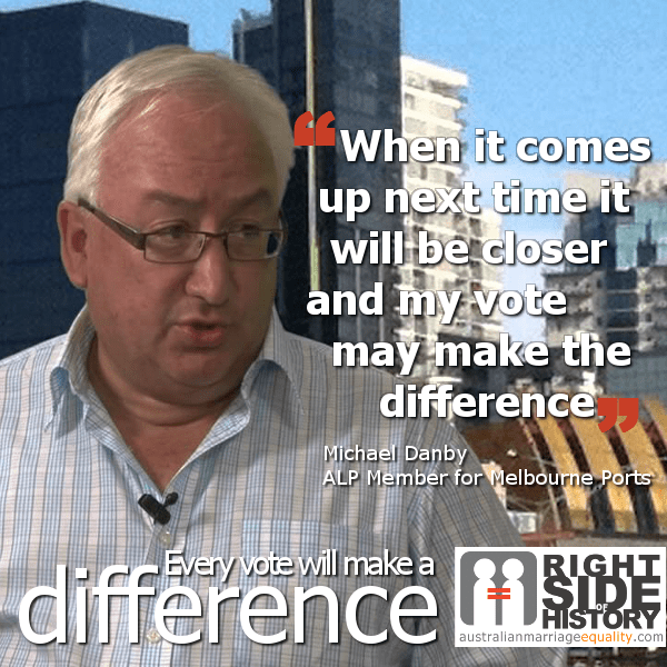 Michael Danby campaigning for gay marriage in Australia (but not Israel)