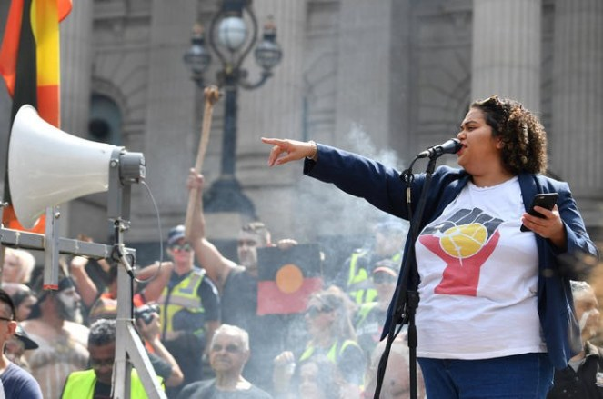 "Tarneen Onus-Williams at an ""Invasion Day"" protest rally on January 26"