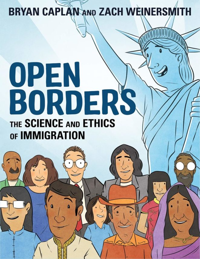 Punims as propaganda: the cover of Open Borders by Jews Bryan Caplan and Zach Weinersmith