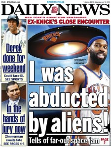 Former KNicks player Baron Davis says he was abducted by aliens, reports the Daily News