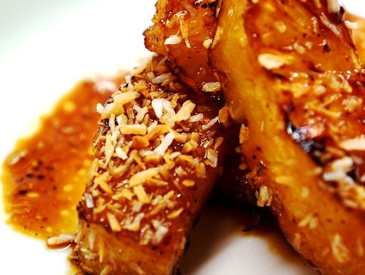 Pineapple Desserts – Caramelised Pineapple with Rum Sauce and Toasted Coconut