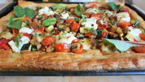 Puff Pastry Pizza - Open Cheese Tart Close up