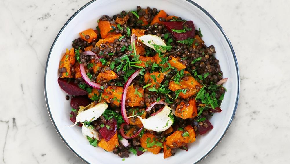 Roasted Pumpkin and Lentil Salad (vegan salad)   David Lloyd Clubs Exclusive