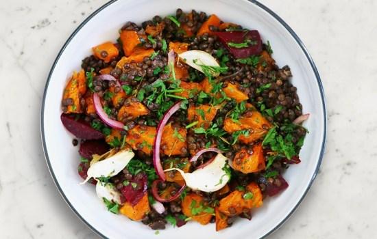 Roasted Pumpkin and Lentil Salad (vegan salad) | David Lloyd Clubs Exclusive