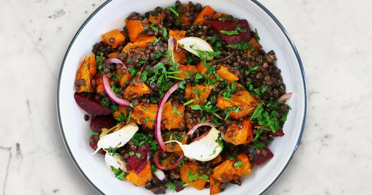 Roasted Pumpkin and Lentil Salad (vegan salad) | David Lloyd Clubs Exclusive