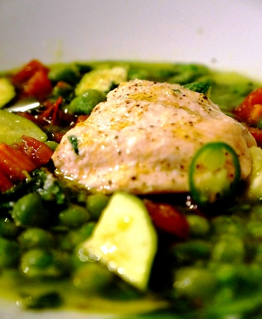 Microwave Salmon – 3 minute Provence Peas & Salmon in the Microwave!
