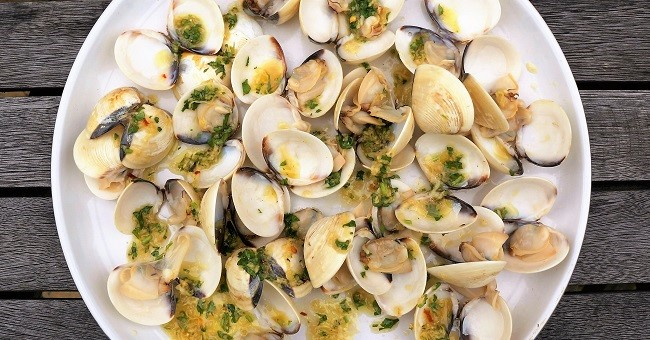 Grilled Clams with Cambodian Ginger Dressing | BBQ Clam Recipes