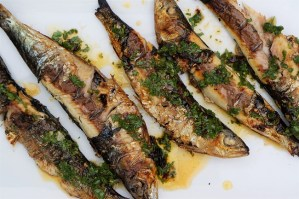 Grilled Sardines on BBQ with Chipotle dressing by Theo Michaels