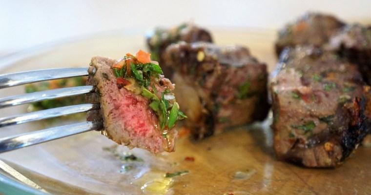 Churrasco with Chimichurri Recipe | BBQ Steak Skewers