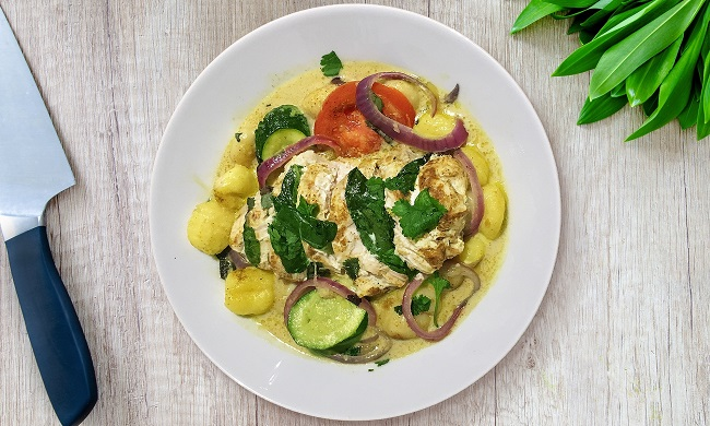 Curried Chicken and Gnocchi recipe cooked en papillote for David Lloyd Clubs