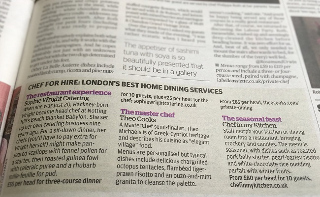 Londons Best Home Dining Services (private chef) Evening Standard Newspaper Oct-16 Theo Michaels
