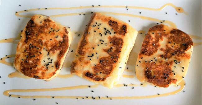 Fried Halloumi with honey and black sesame   Halloumi recipes