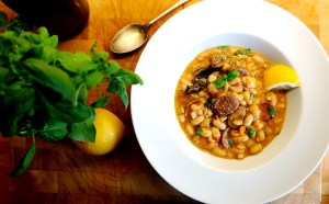 Greek Cassoulet Recipe usuing Loukaniko Theo Michaels as on Nick Coffer Weekend Kitchen BBC 3CR