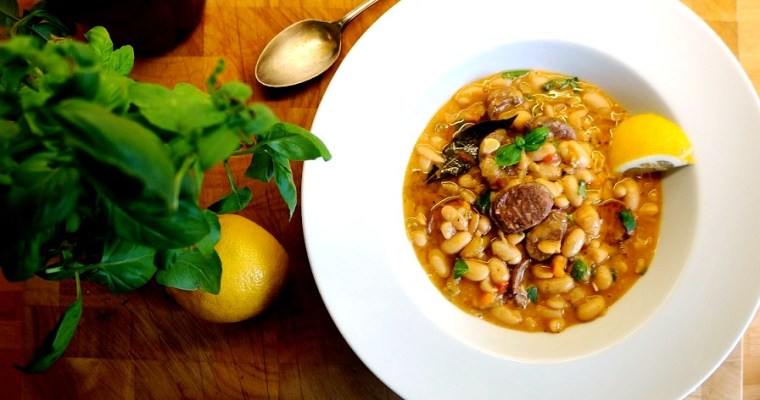 Greek Sausage Cassoulet | Loukaniko Greek Sausage