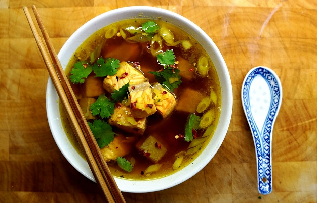 Asian Fish Soup | Salmon Soup Recipe with Lemongrass and Ginger