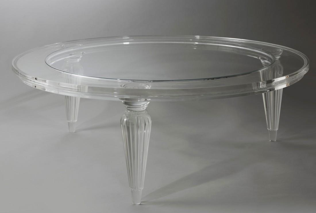 acrylic fluted leg coffee table the