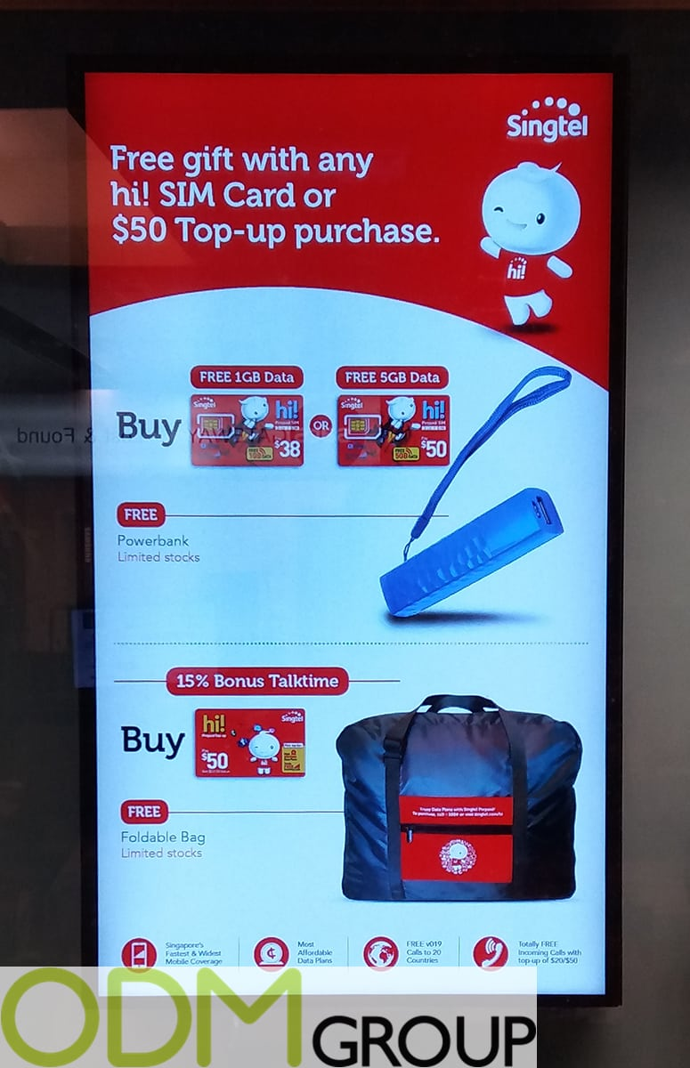 Promotional gifts for travelers from SingTel