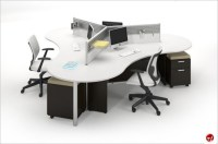 The Office Leader. Milo Cluster of 4 Person Cubicle Office