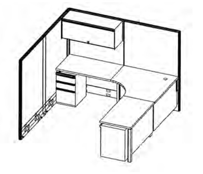 The Office Leader. 7' x 7' L Shape Corner Curve Office