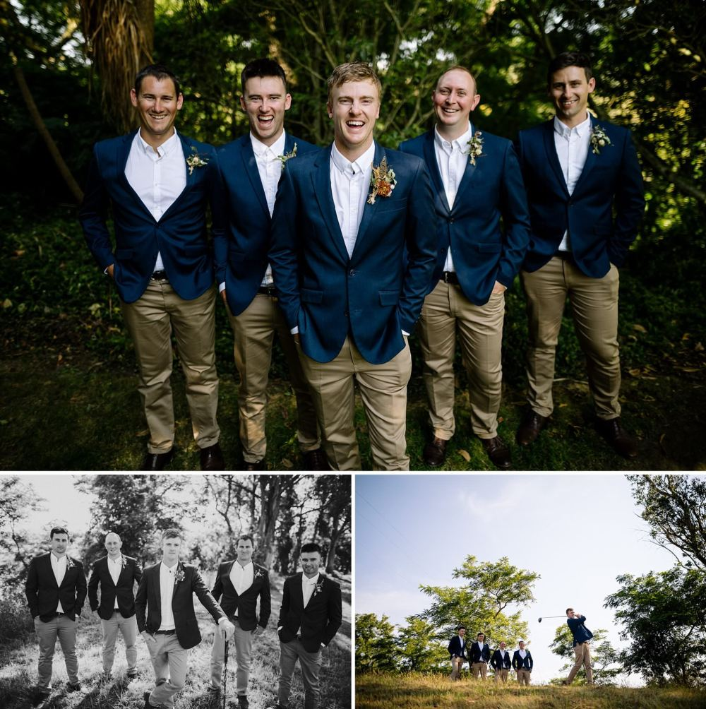 Groomsmen photos blue jacket beige pants with white shirts