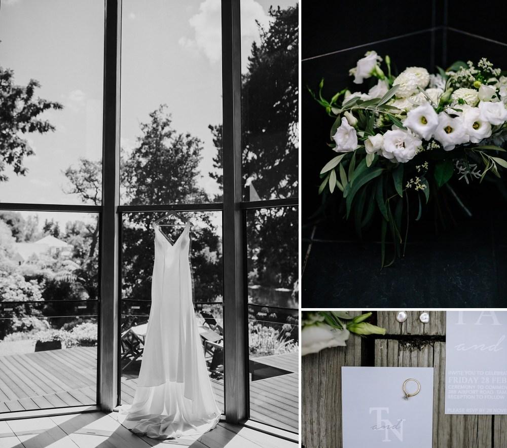Brides details with wedding dress