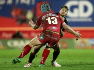24.03.17 - Scarlets v Edinburgh Rugby, Guinness PRO12 - Tom Brown of Edinburgh is tackled by Jonathan Davies of Scarlets.