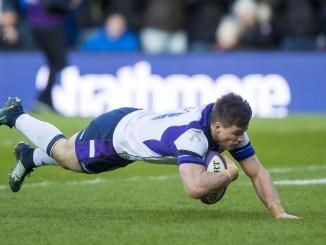 Huw Jones scores Scotland's second try.