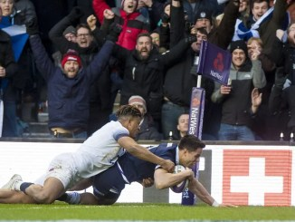 Sean Maitland scores Scotland's second try.
