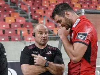 Richard Cockerill and Fraser McKenzie in conversation during Edinburgh's clash with the Southern Kings at the Nelson Mandela Bay Stadium in Port Elizabeth last December