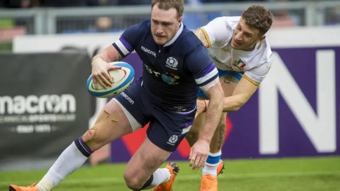 Stuart Hogg scores a crucial try against Italy,