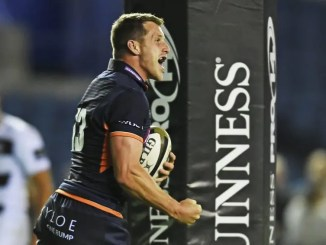 Mark Bennett celebrates scoring the first of his three tries against Zebre.