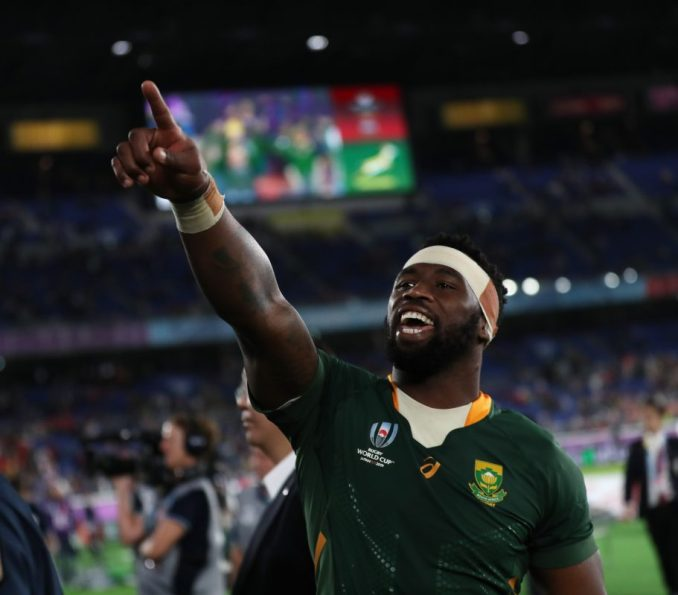 South Africa captain Siya Kolisi waves to the fans following victory over Wales in the semi-final. Image: Fotosport/David Gibson