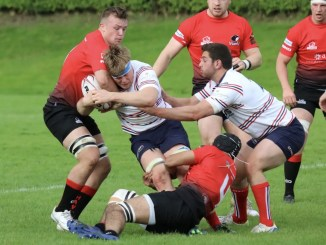 Aberdeen Grammar and Glasgow Hawks clash at Rubislaw. Image: Anna Burns