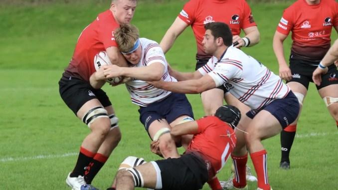 Aberdeen Grammar and Glasgow Hawks clash at Rubislaw. Image: Anna Burns