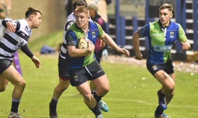 Johnny Matthews on the charge for Boroughmuir Bears versus Heriot's.