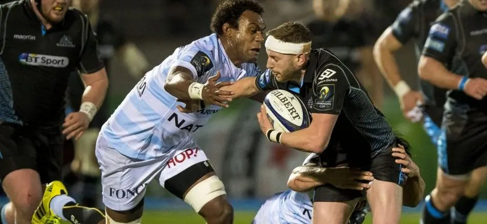 Leone Nakawara in action for Racing 92 against Glasgow Warriors and his current team-mate Finn Russell three seasons ago. Image: Craig Watson - www.craigwatson.co.uk