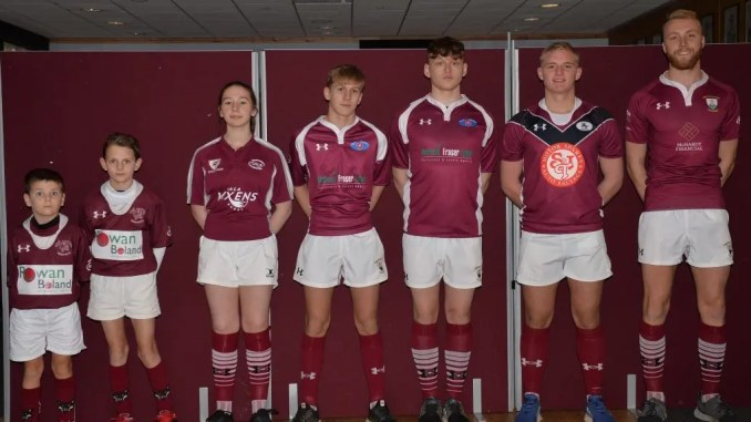 Gala aim to bring the various strands of rugby in the town closer together. From left to right: Leo Paterson, Bailey Paterson (both Mini Maroons), Hannah Bradley (Gala Vixens), Russell Kerr (Gala Red Triangle), Kacper Korlaga (Gala Red Triangle), Jamie Crooks (Gala Wanderers), Ross Cooke (Gala RFC). Image: Alwyn Johnston.
